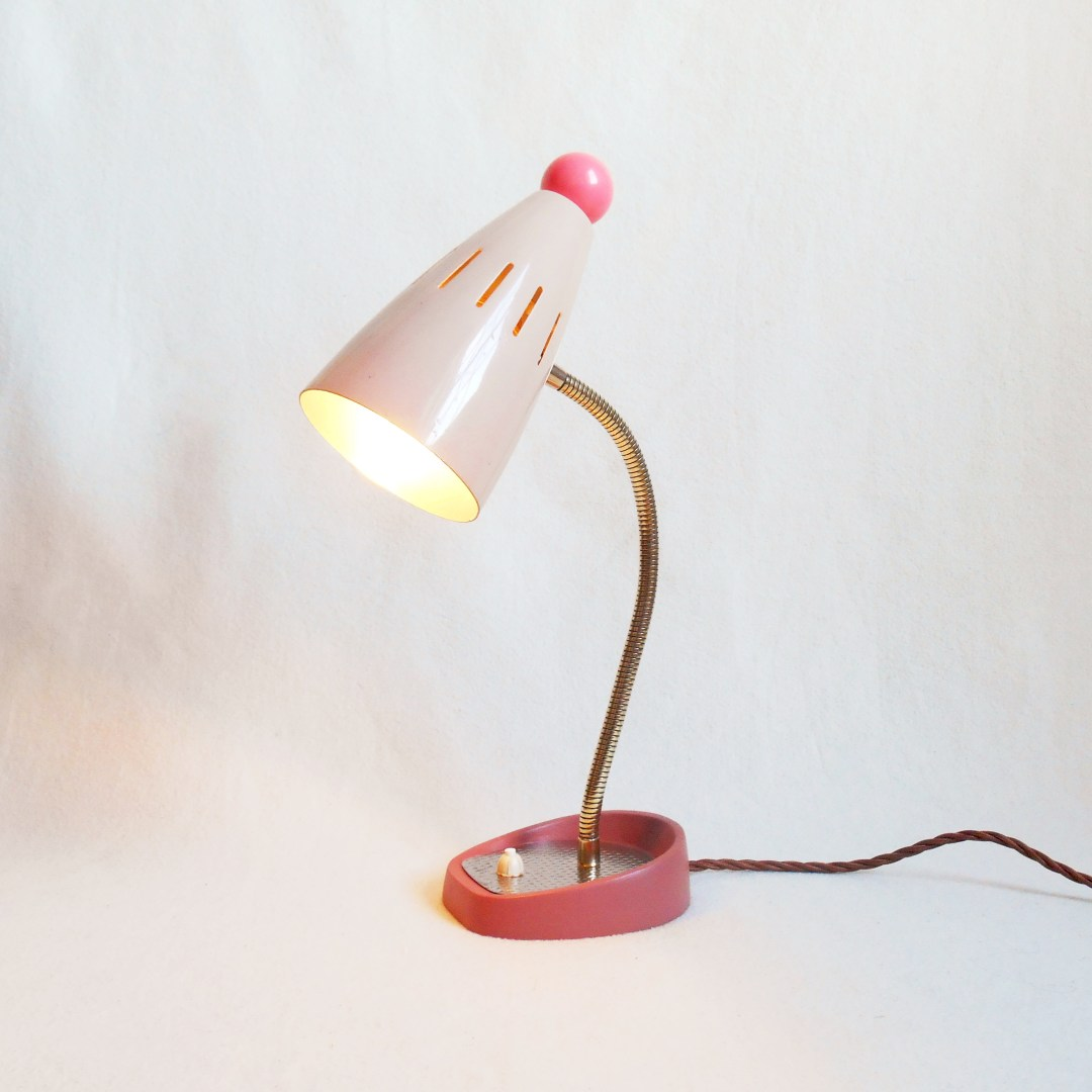 Vintage pink desk lamp by Fiona Bradshaw Designs