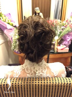 Hair Updo with simple headpiece or fresh floral combination~