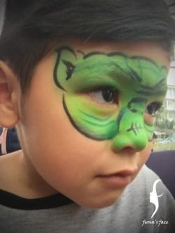 HK face & body painting artist fiona - Yoda