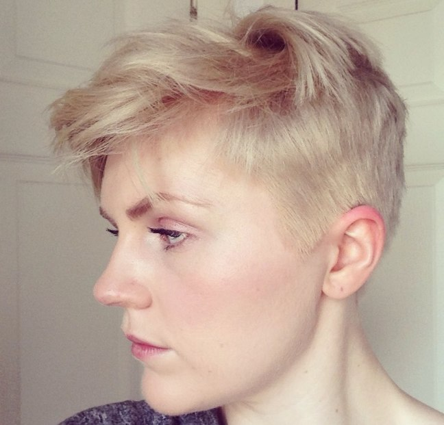 ash blonde shaved pixie