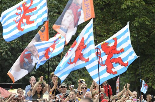 Flags of Luxembourg flying