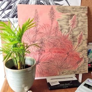 Carving the woodblock. Aloe arborescens. Fiona Parrott printmaker. Fiona Parrot prints. Woodcut artist. Sussex.