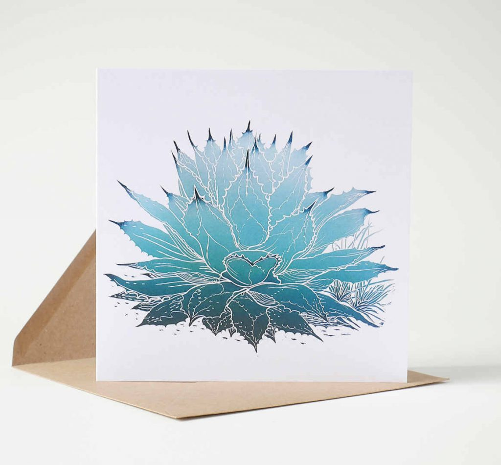 Mescal Agave Art Greeting Card by Fiona Parrott