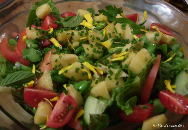 Salad with broad beans, pepino, chives and mint
