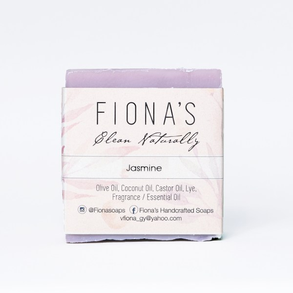 Ingredients are: Olive Oil, Coconut Oil, Castor Oil, Sodium Hydroxide, Water, Jasmine Fragrance, Colorant This soap has a scent of fresh jasmine flowers. Jasmine has calming and soothing properties, as well as anti-inflammatory properties.