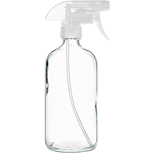 16oz Clear Glass Spray Bottle with Durable Clear Spray Nozzle - BPA Free and Lead Free - Mist Stream