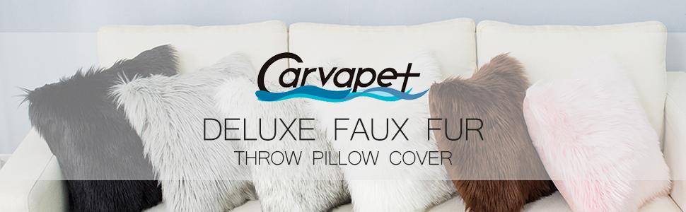 Faux fur throw pillow cover case set