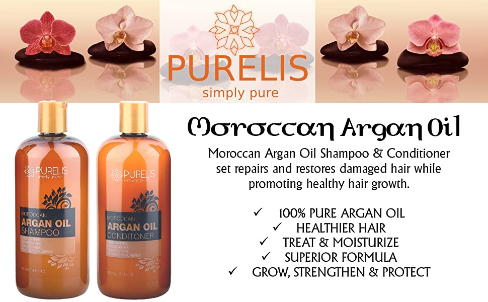 Moroccan Argan Oil Shampoo & Conditioner set repairs and restores damaged hair