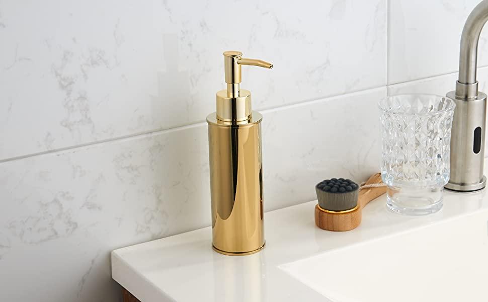 Round gold soap dispenser