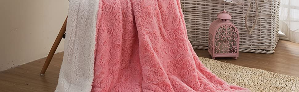 lovely rosey pink throw blanket faux fur luxury soft warm winter sherpa backside fancy elegant gift