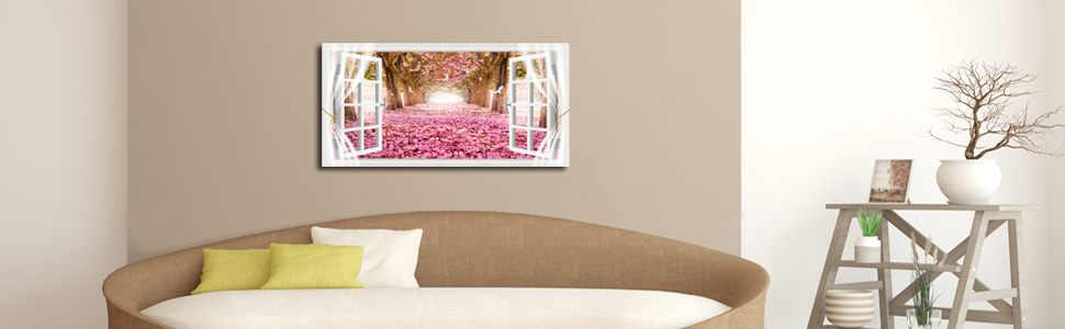 pink flower  trees wall decor