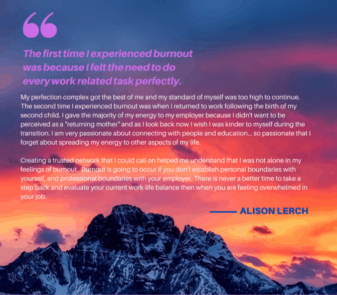 A photo of a mountain with the sun rising behind it and the sky orange, into purple, text is overlaid on the sky