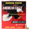 Federal American Eagle Competition Ammo Brass 9mm 200-Rounds 115 Grain FMJ
