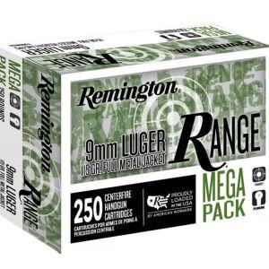 Remington Ammunition Range Ammo Brass 9mm 250-Round 115 Grain FMJ