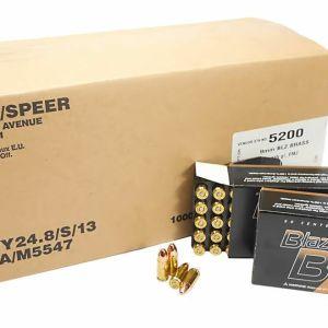 9mm 9x19 Ammo 115gr FMJ CCI Blazer Brass (5200) 1000 Round Case