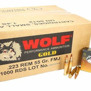 223 5.56x45 Ammo 55gr FMJ Wolf Gold Brass Case Boxer Primed 1000 Round Case