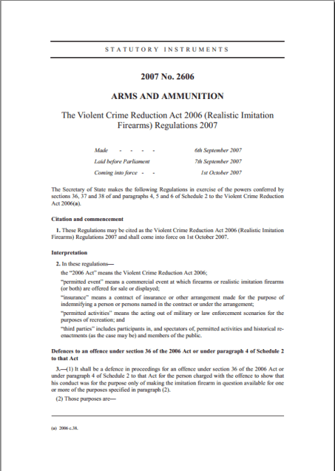 Realistic Imitation Firearms Regulations 2007