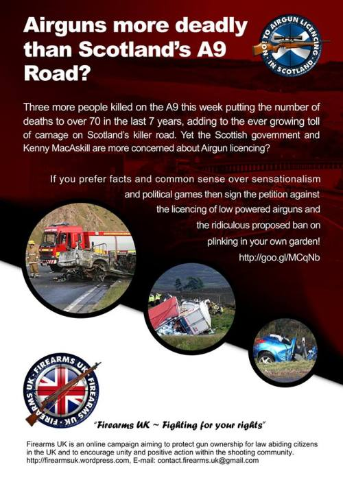 A Firearms UK meme on Scotland's A9 and the proposed licensing of low powered airguns