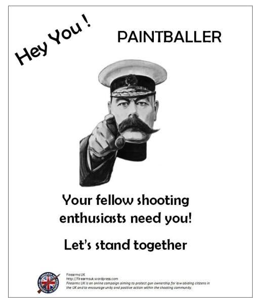 A Firearms UK Unity Series meme on paintballers
