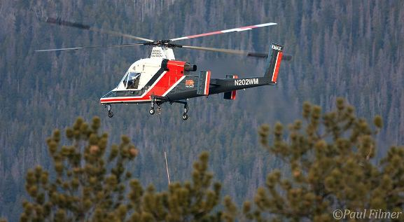 HeliQuest Aviation's KMAX on the Fern Lake Fire. Photo by Paul Filmer