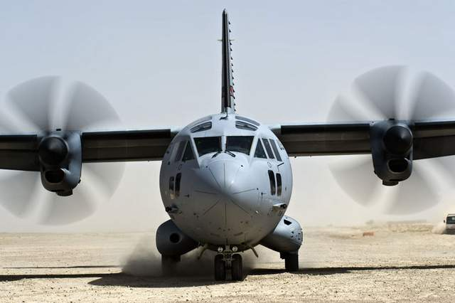 C-27J lands at Qalat, Afghanistan.