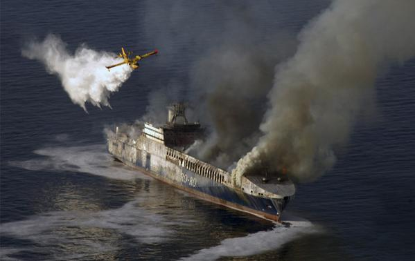 scooper dropping on ship fire