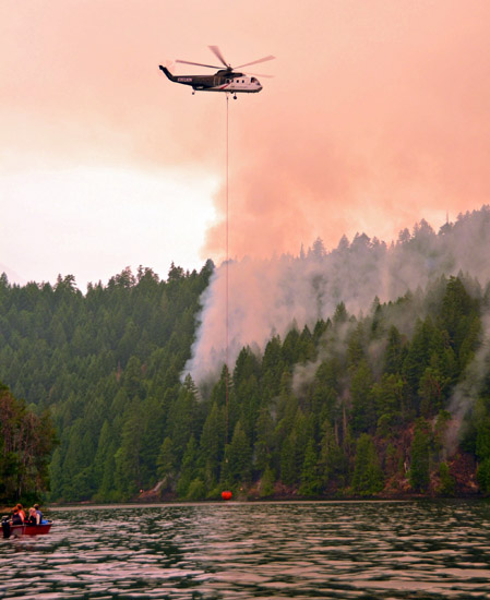 helicopter fire on Sproat Lake