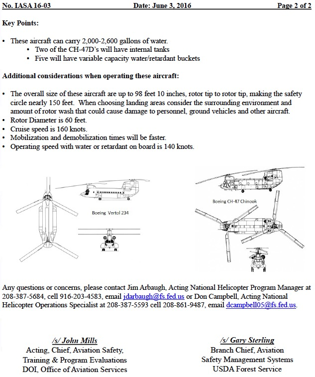safety alert chinook helicopters