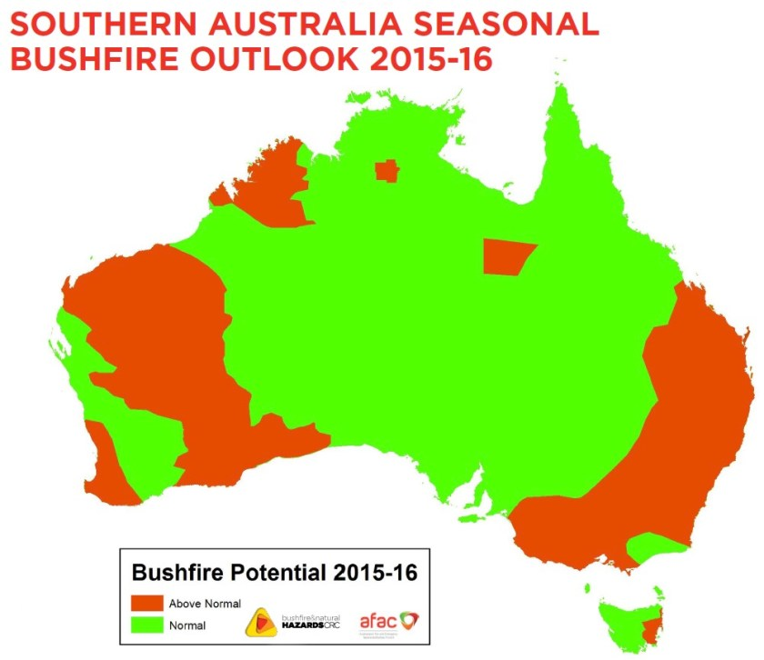 bushfire season outlook Australia 2016-2017