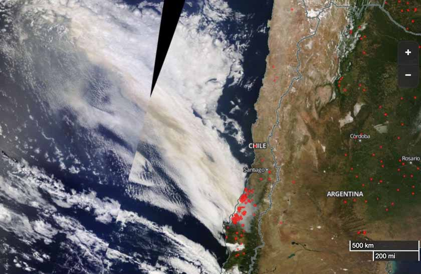 wildfires in Chile map