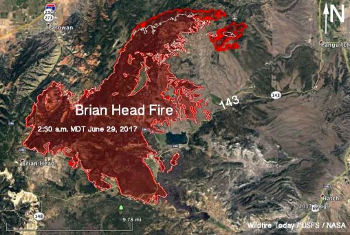 Map of the Brian Head Fire in southwest Utah. The red line was the perimeter at 2:30 a.m. MDT June 29, 2017. The white line was the perimeter 24 hours earlier.