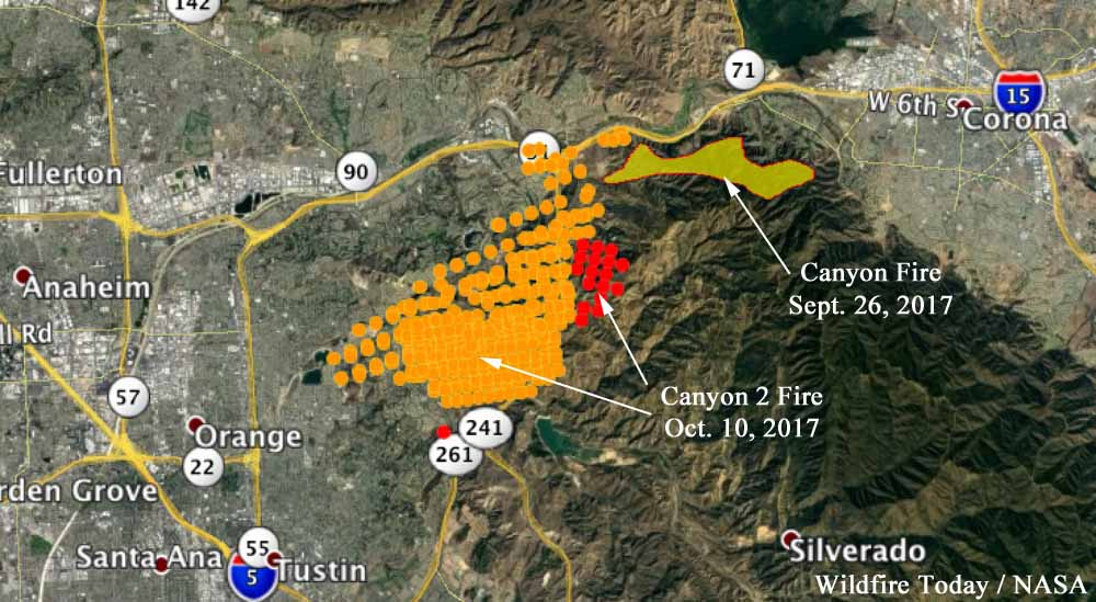The red dots represent heat detected on the Canyon 2 Fire by a satellite at 2:54 a.m. October 10. The yellow dots were detected at 12:54 p.m. October 9. The Canyon Fire started September 25, and the spread was stopped a few days later. Click to enlarge.