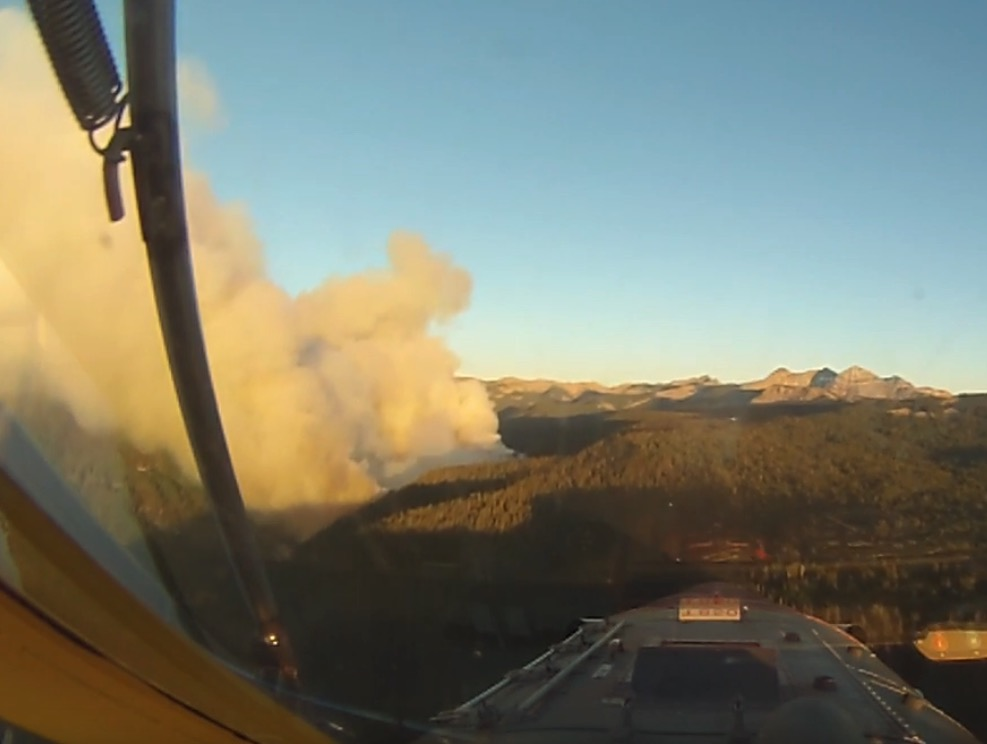 Video from cockpit of air tanker while attacking the Burro Mountain Fire