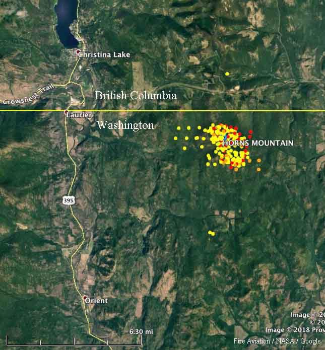 map Horns Mountain Fire
