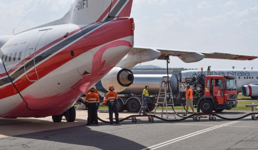 Air tanker 166 RJ-85 reloading Canberra Airport