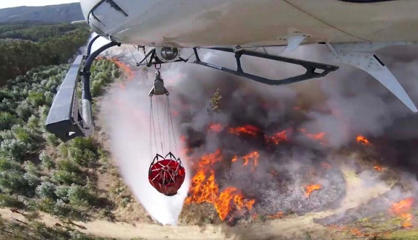 water drop fire wildfire helicopter
