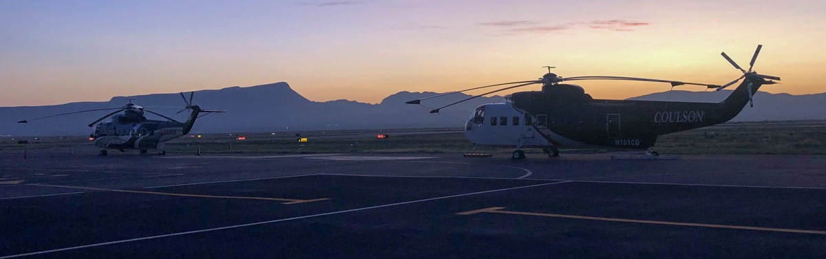 Coulson helicopters en route to assist with wildfires in Bolivia