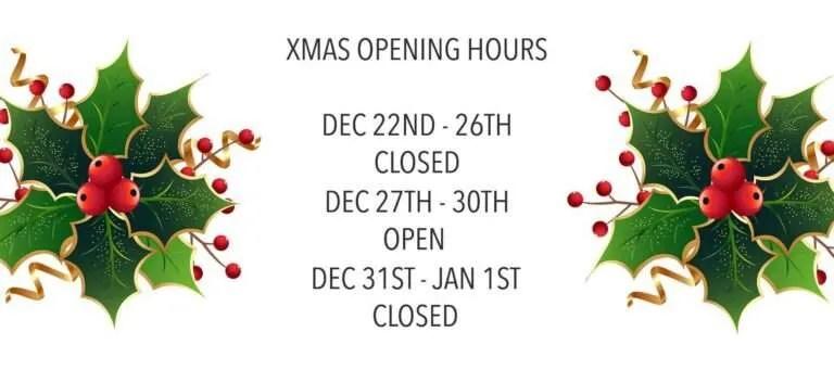 Xmas opening hours 2019