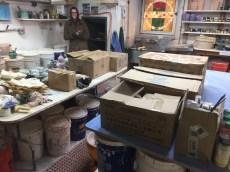Piles of boxes and pots.