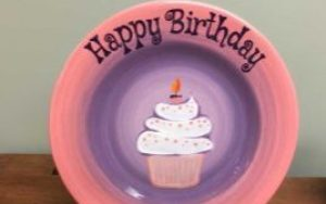 pink and purple birthday plate