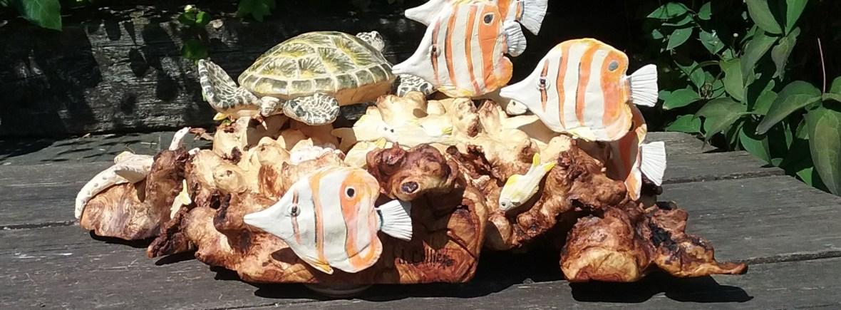 Coral Reef, ceramic sculpture by wildlife artist Jill Collier