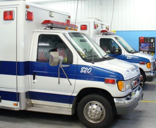 two parked ambulances