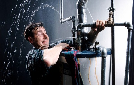 01 Jan 2000 --- Plumbers dilemma --- Image by © David Bentley/CORBIS
