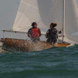 Matt Green and and Marika Curry in F1576 Inkoosan on day 2 of the 2019 Firefly Nationals in Lyme Regis