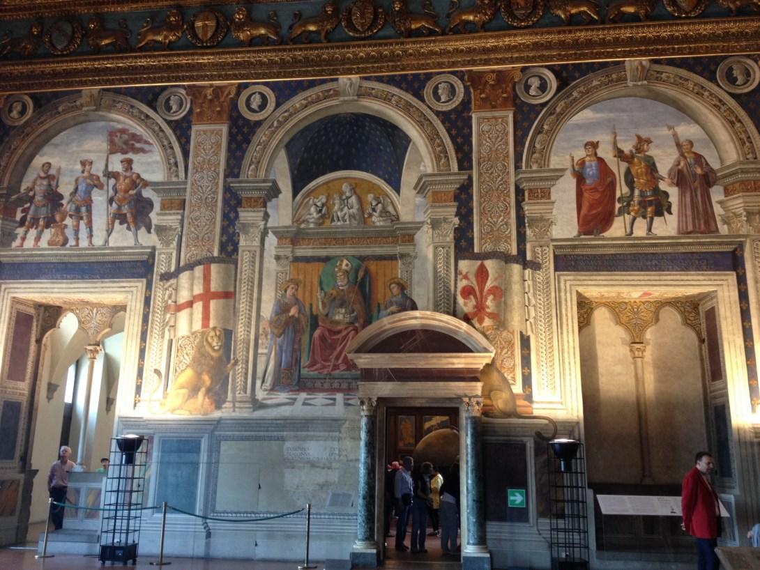 聖人に囲まれる聖ザノビ(中央玉座) ドメニコ・ギルランダイオ, 1482-85頃 ヴェッキオ宮殿百合の間, フィレンツェ