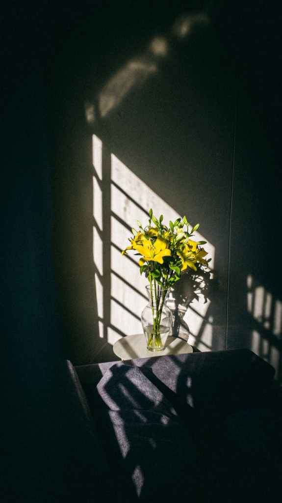 yellow lilies in glass vase