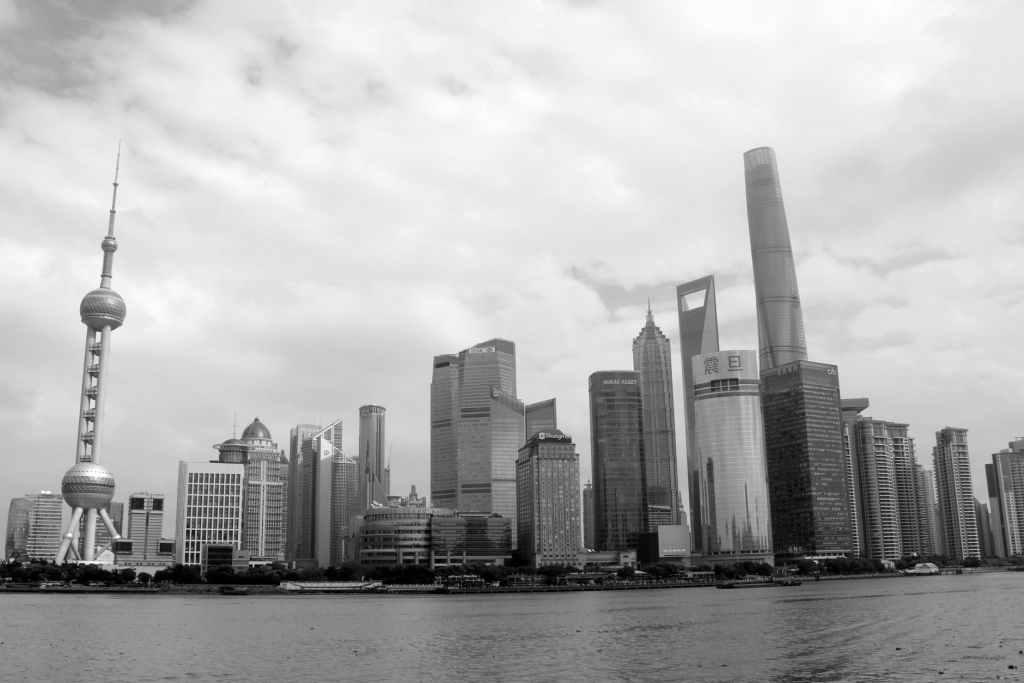 grayscale photography of shanghai skyline