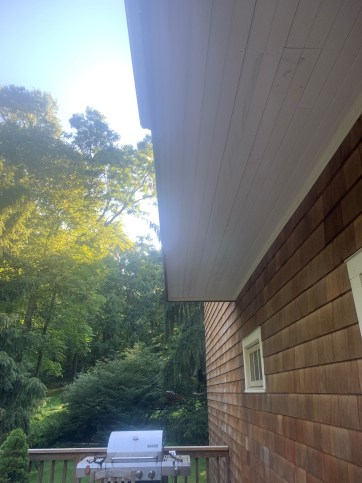 Finished Beadboard and Crown on Back Deck Overhang