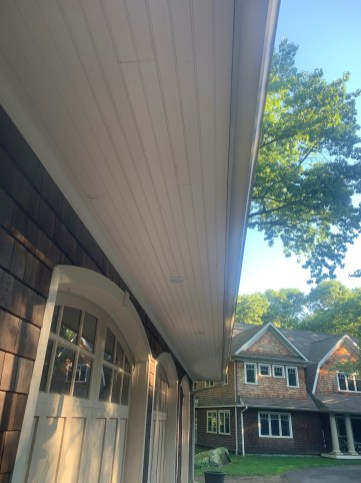 Finished Beadboard and Crown Under Garage Overhang