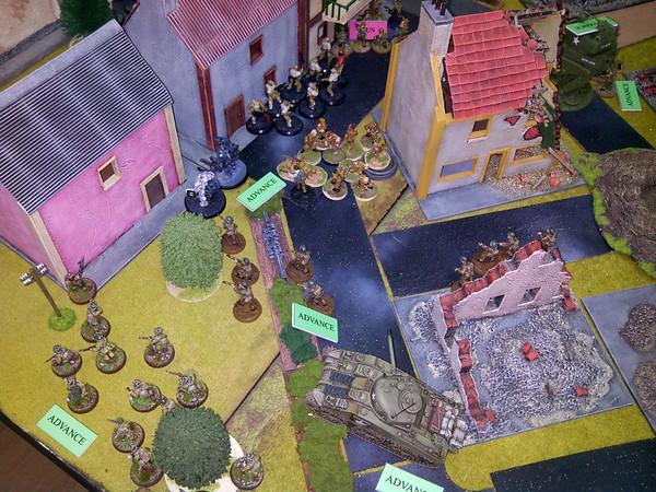 Vista geral do assalto á vila